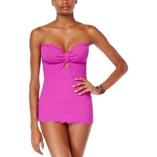 Jessica Simpson Womens Textured Scalloped Trim One-Piece Swimsuit Purple L
