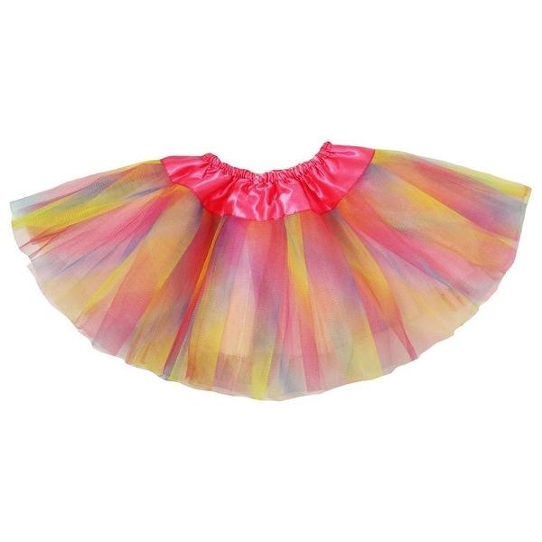Baby Girls Pastel Rainbow Satin Elastic Waist Ballet Tutu Skirt 0-12M - 0-12 Months