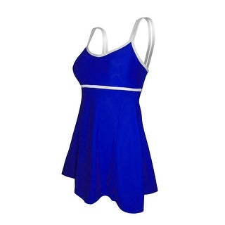 Double Strap Lingerie Swimdress in Solid Sapphire Blue with White Trim