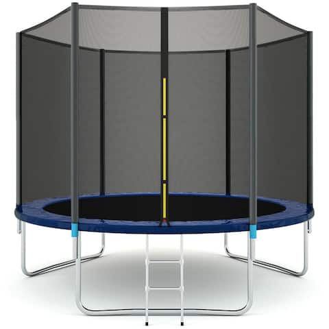 Gymax 10 FT Trampoline Combo Bounce Jump Safety Enclosure Net W/Spring Pad Ladder - 10 ft