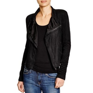 Olivaceous Womens Jacket Faux Suede Mixed Media