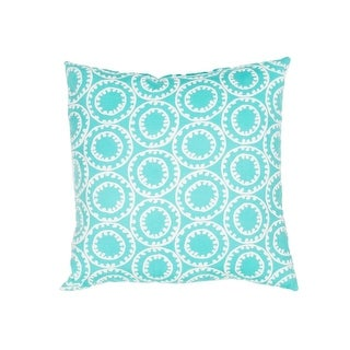 """18"""" Turquoise Blue and Ivory Geometric Pattern Decorative Throw Pillow"""