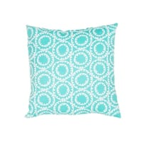 "18"" Turquoise Blue and Ivory Geometric Pattern Decorative Throw Pillow"
