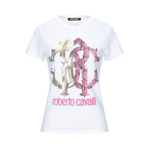Roberto Cavalli Women's Cotton Crew Neck Snake Skin Logo T-Shirt White
