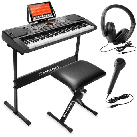 Electronic Keyboard with H-Stand, Stool, Headphones Microphone &