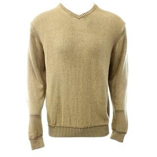 Weatherproof NEW Beige Mens Size Large L V-Neck Ribbed Hem Sweater