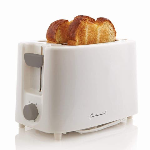 Continental 2-Slice Cool Touch Toaster, White, 6x9x5.5 Inches
