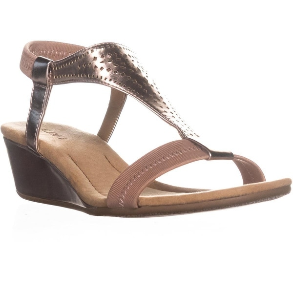 A35 Vacanzaa2 Wedge Peep-Toe Sandals, Rose Gold - 7 w us