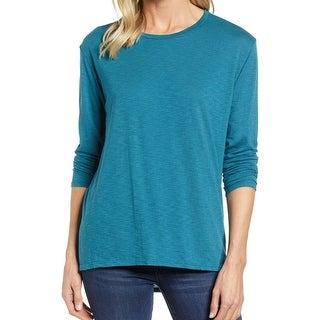 Caslon Teal Blue Women's Size XS Crewneck Knit Top Tee T-Shirt