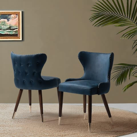 Hepburn Tufted Nailhead Trim Accent Dining Chair,Set of 2