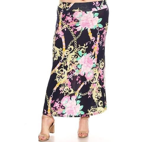 Women's Casual Pattern Print High Waist A-Line Plus Size Maxi Skirt
