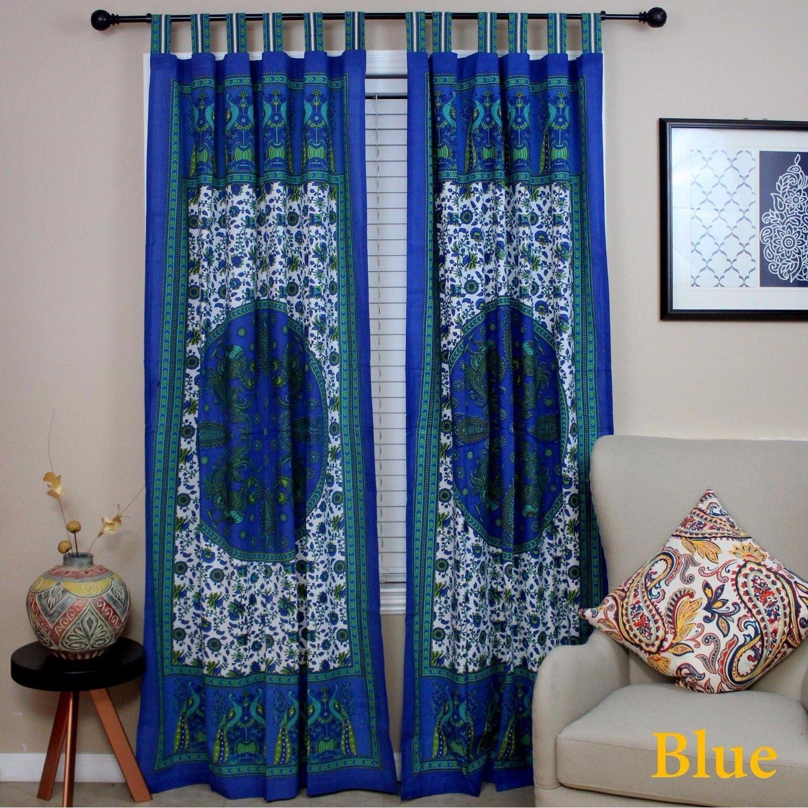 Shop Handmade 100 Cotton Peacock Tab Top Curtain Door