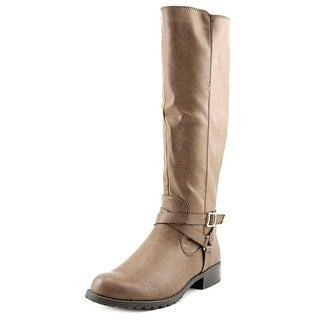 Style & Co Brigyte Women Round Toe Leather Brown Knee High Boot