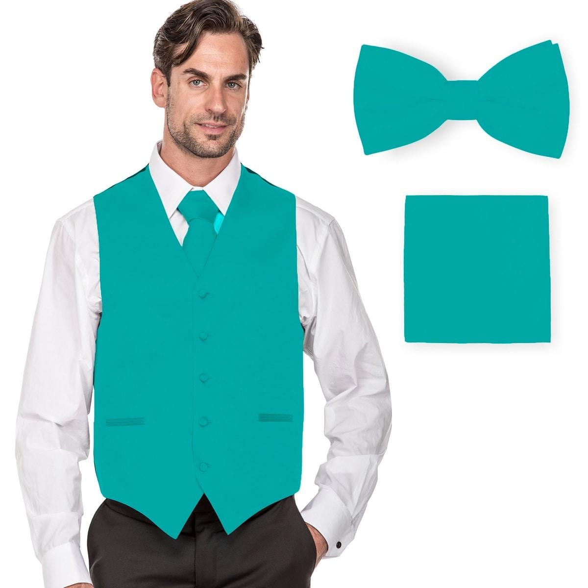 New Mens White Low Cut Tuxedo Vest Tie Set Open Back Formal Wedding Size 2XL
