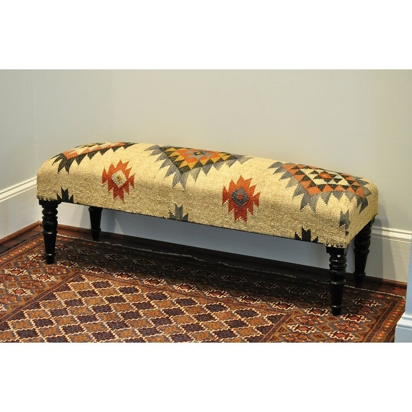 """Handmade Upholstered Bench - 47"""" L x 15"""" W x 17"""" H. Opens flyout."""