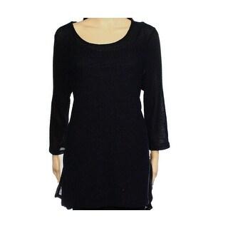 Alfani NEW Deep Black Womens Size XL Woven Metallic Tunic Sweater