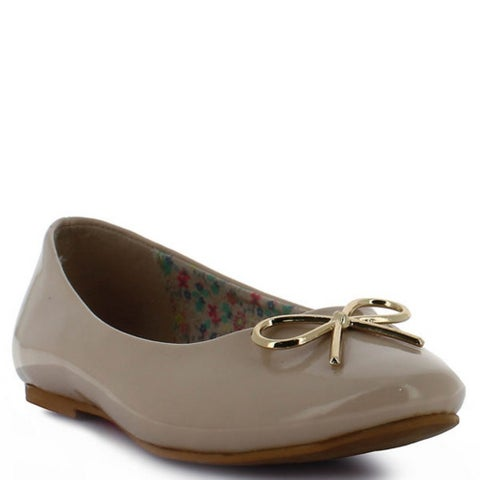 Tropicana Adult Beige Gold Patent Shine Bow Accent Slip On Flats 5 Womens