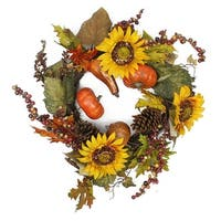 "24"" Autumn Harvest Pumpkin and Sunflower Artificial Thanksgiving Wreath - Unlit - Multi"