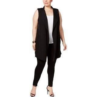 Calvin Klein Womens Plus Outerwear Vest Matte Jersey Open Front