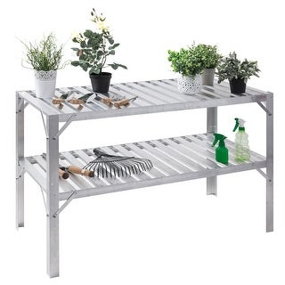 Costway Aluminum Workbench Greenhouse Prepare Work Potting Table Storage Garage Shelves - Sliver