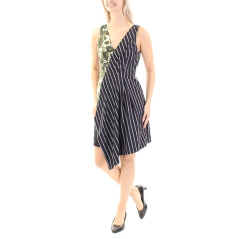 RACHEL ROY Womens Navy Pleated Printed Sleeveless V Neck Knee Length Trapeze Dress Size: 2