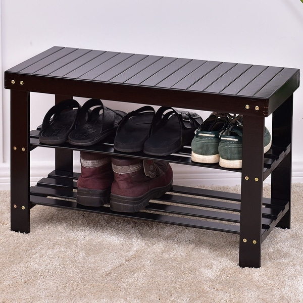 Storage Bench Shoe Rack Entryway Organizer Container Store: Shop Costway 3 Tier Bamboo Shoe Rack Bench Storage Shelf