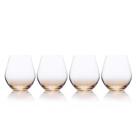 Mikasa Gianna Ombre Amber 19 oz. Stemless Glass (Set of 4)