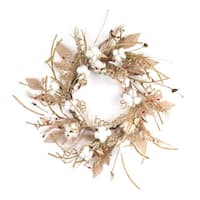 """Pack of 2 Brown and White Artificial Pod with Twig Floral Wreaths 24"""""""