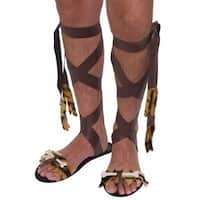 Adult Stone Age Brown Sandals for Mens Costume - one-size: regular