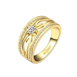 Gold Plated Trio Lined Jewel Ring