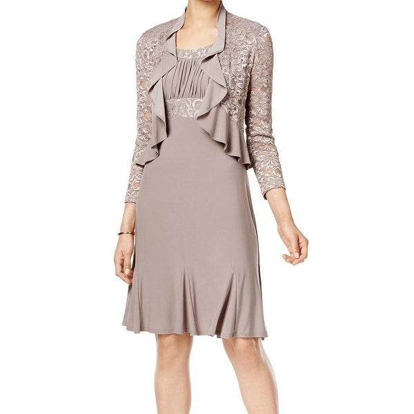 503ac79ccde1 Shop R&M Richards NEW Beige Mocha Lace Sequin 12 Jacket Sheath Dress ...