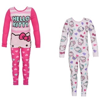 Hello Kitty Little Girls Fuchsia Character Heart Print 2 Pajama Sets Pack