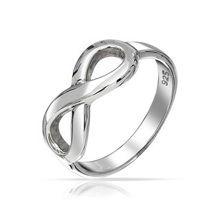 Bling Jewelry Figure 8 Infinity Symbol Sterling Silver Ring (More options available)
