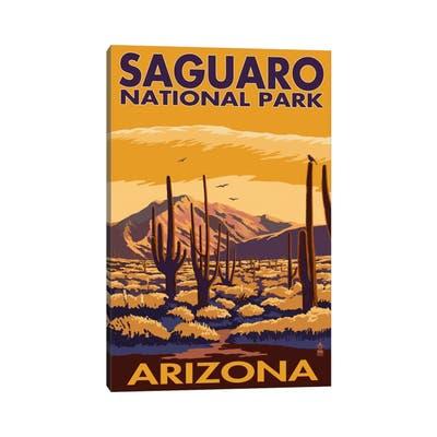 """iCanvas """"Saguaro National Park (Desert Landscape)"""" by Lantern Press Canvas Print"""