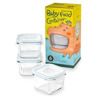 Glasslock  Yum Yum Airtight  Square Baby Food Container 6 Piece Set