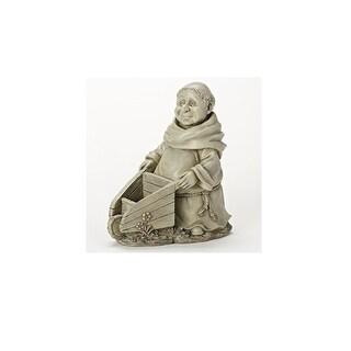 """12"""" Wilber and His Wheelbarrow Decorative Monk Statue Garden Planter"""