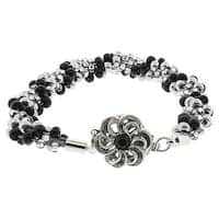 BeadSmith Kumihimo Bracelet Jewelry Kit, Do It Yourself, Silver & Black Twist