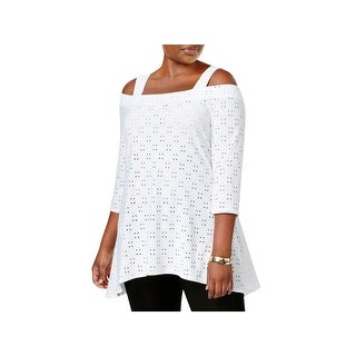 NY Collection Womens Plus Casual Top Cut-Out Off-The-Shoulder