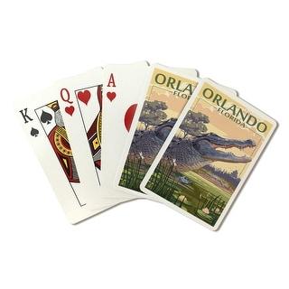 Orlando, Florida - Alligator Scene - Lantern Press Artwork (Playing Card Deck - 52 Card Poker Size with Jokers)