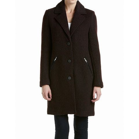 Marc York Red Womens Size 4 Button Front Notch Collar Coat