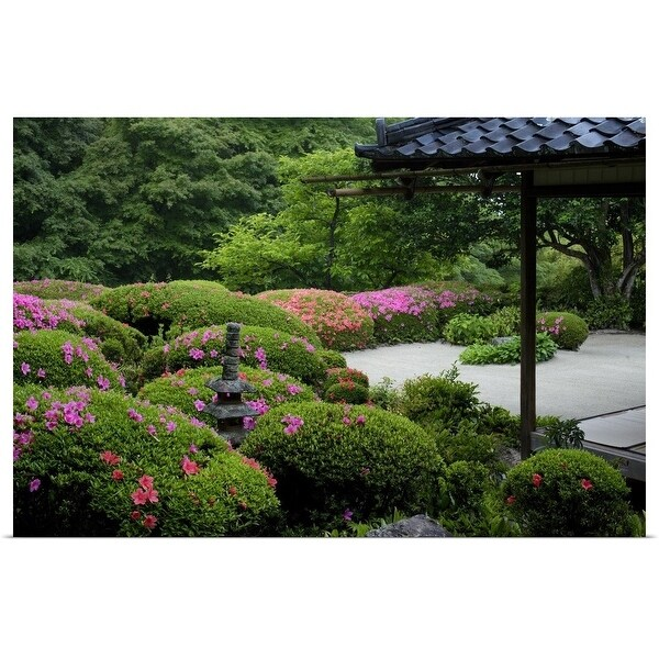 """""""Rhododendrons in bloom in Shisen-do temple gardens"""" Poster Print"""