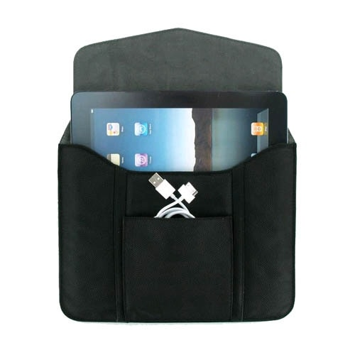 Leather Tablet Sleeve with Pouch for iPad 1 & 2, Kindle, Kindle Fire, Nook - Bla