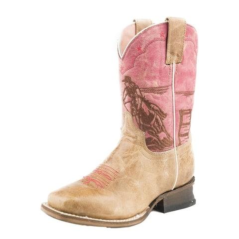 Roper Western Boots Girls Barrel Racer Tan