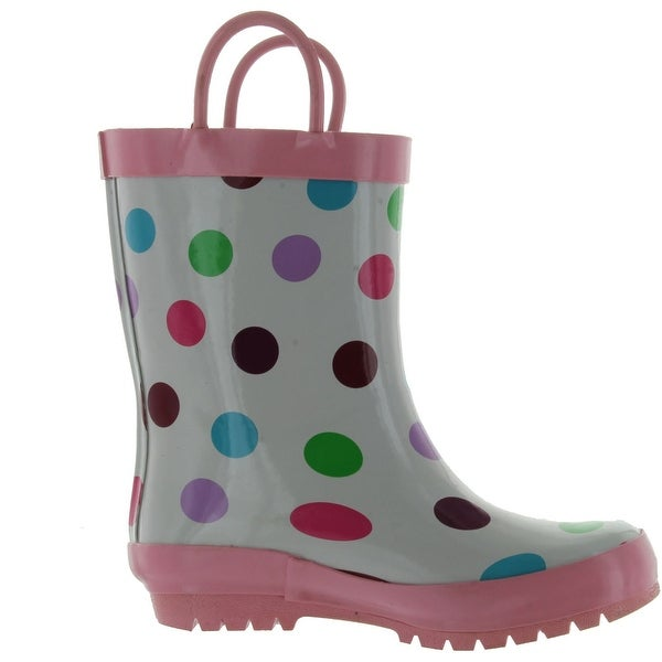 Pluie Pluie Girls White Polka Dot Fashion Rainboots