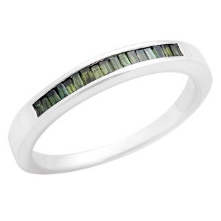 Brand New 0.22Ct Green Color Baguette Diamond Channel Set Anniversary Eternity Ring