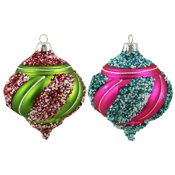 "2ct Colorful Beaded Twist Matte Shatterproof Christmas Onion Ornaments 5"" - multi"