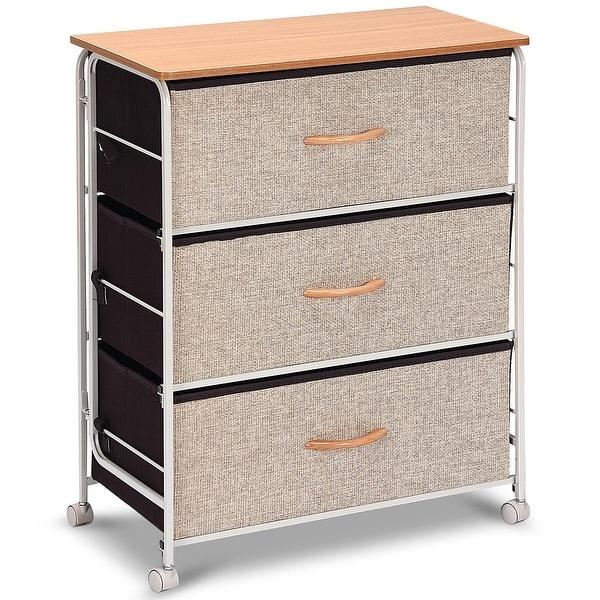 Fabric Storage Dresser Organizer Unit Side Table with Wheels-2-Tier