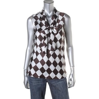 Nine West Womens Juniors Safari Checkered Tie Collar Blouse - S