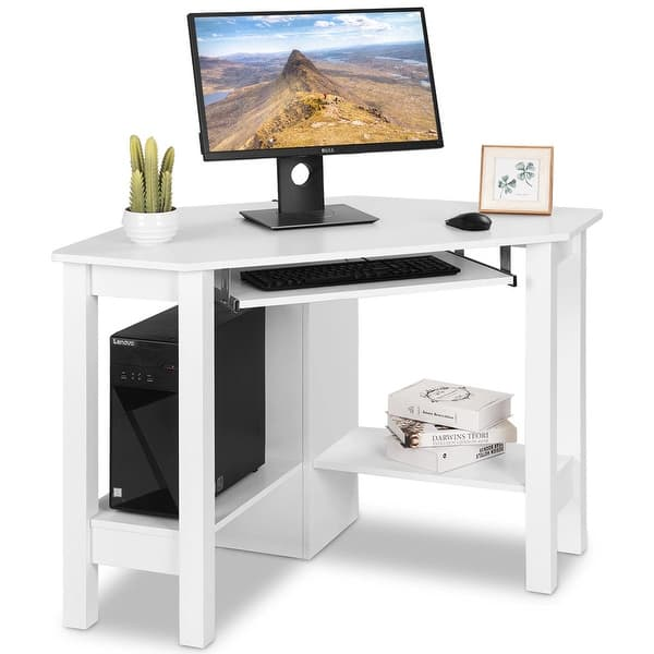 Costway Wooden Corner Desk With Drawer