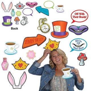 Club Pack of 144 Alice In Wonderland Photo Fun Party Signs - Multi